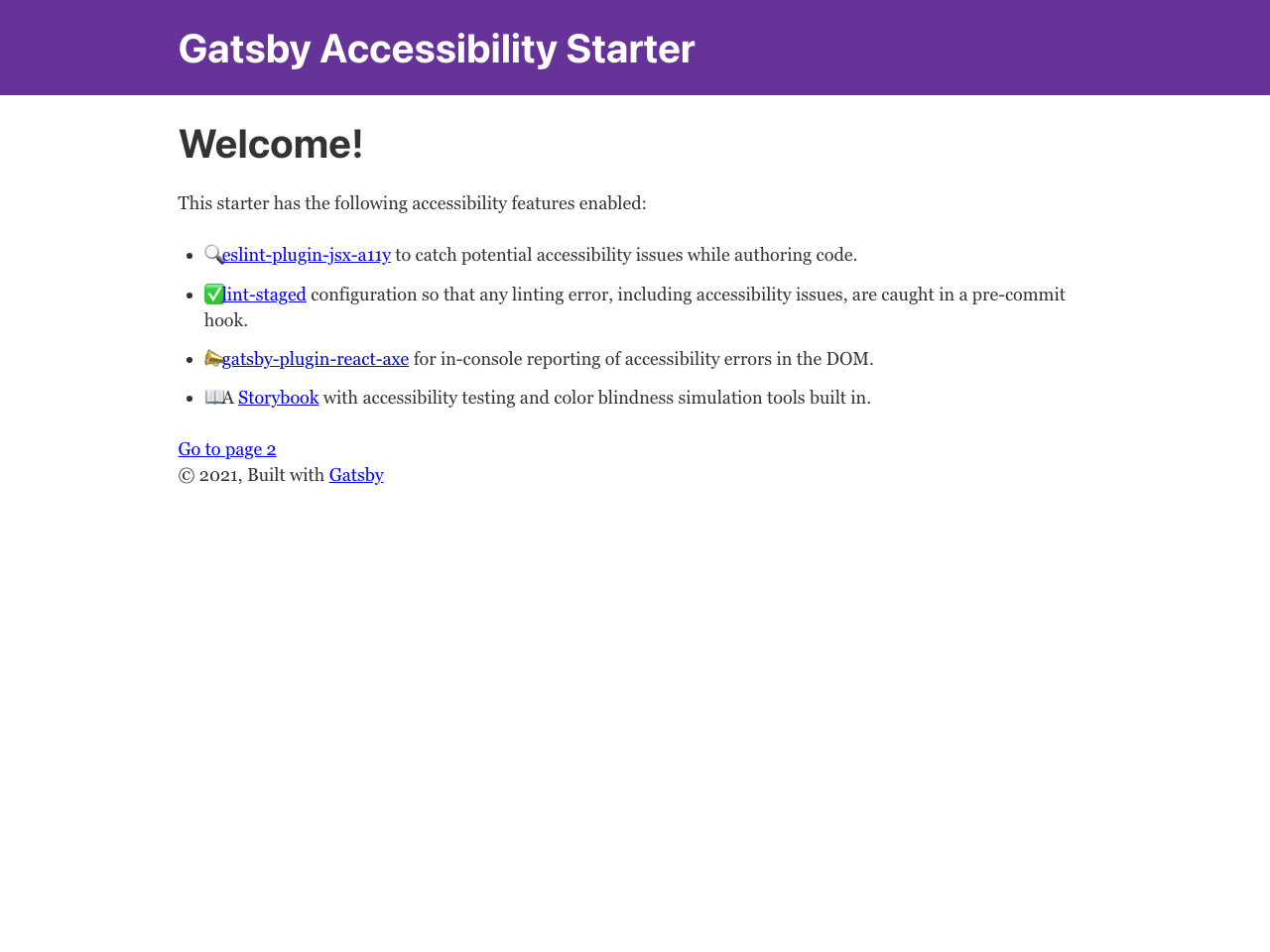 Gatsby Starter Accessibility screenshot