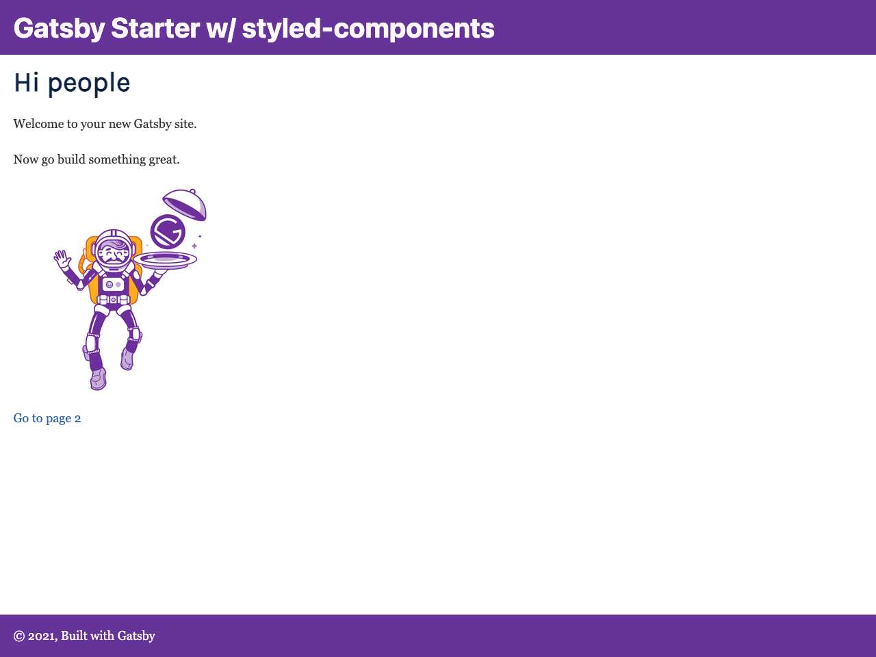 Gatsby Starter Styled Components screenshot