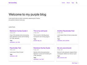 Eleventy + Stylus Blog Theme - Purple screenshot